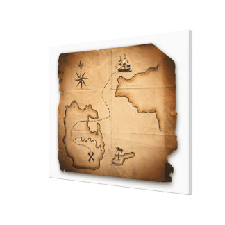 Close up of antique world map with ship route canvas print