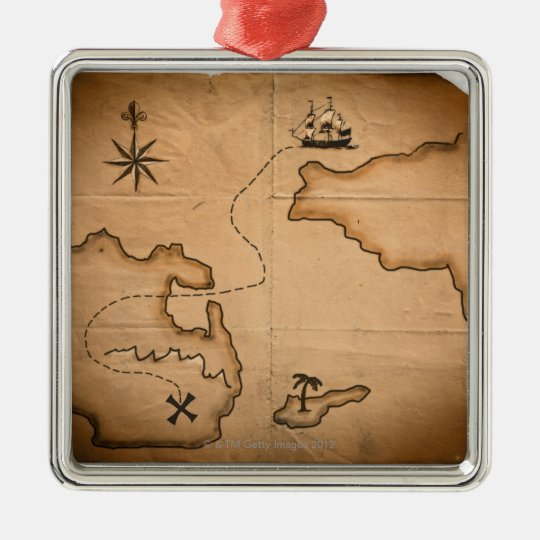 Close up of antique world map with ship route metal ornament