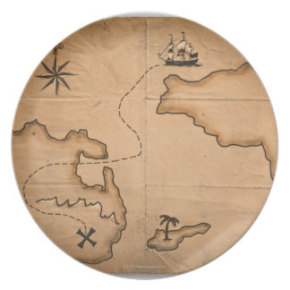 Close up of antique world map with ship route party plate