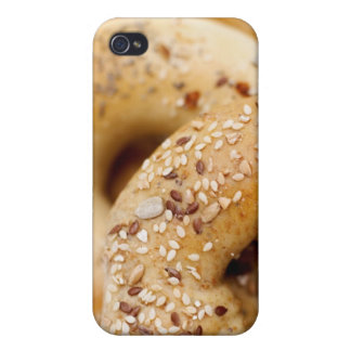 Close-up of assorted bagels on a plate iPhone 4 cover