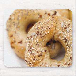 Close-up of assorted bagels on a plate mouse pad