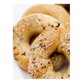Close-up of assorted bagels on a plate postcard