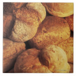 close-up of baked bread ceramic tiles