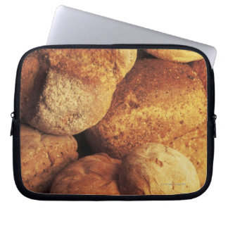 close-up of baked bread laptop sleeve