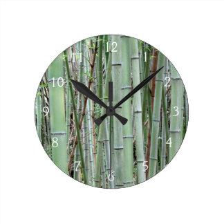 Close-up of bamboo grove round wallclocks