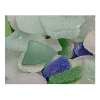 Close up of beach glass, Alaska Postcard