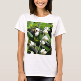 Close up of Bee on White Flowers T-Shirt