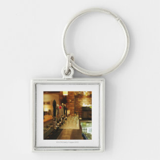 Close-up of beer taps in bar 2 Silver-Colored square keychain