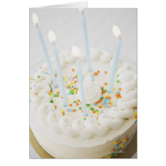 Close up of birthday cake with birthday candles greeting card