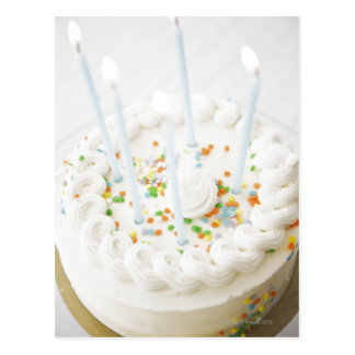 Close up of birthday cake with birthday candles postcard