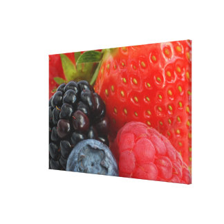 Close-up of blackberry, blueberry and canvas print