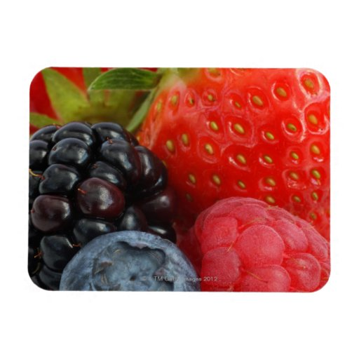 Close-up of blackberry, blueberry and flexible magnet