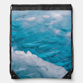 Close-up of blue ice drawstring bag