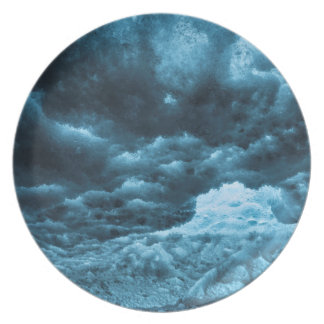 Close up of blue ice, Iceland Dinner Plate