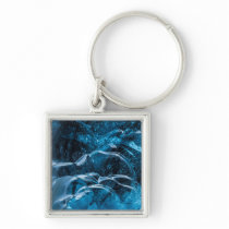 Close Up Of Blue Ice Walls Keychain