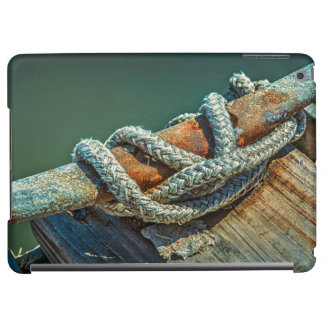 Close-up of boat cleat and rope case for iPad air