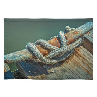 Close-up of boat cleat and rope cloth placemat