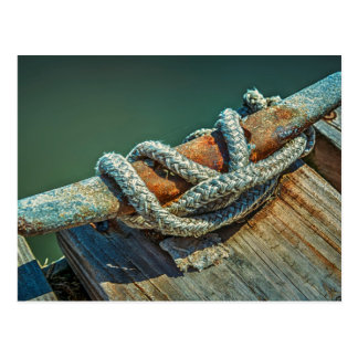Close-up of boat cleat and rope postcard