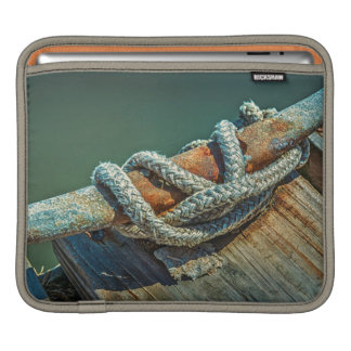 Close-up of boat cleat and rope sleeve for iPads