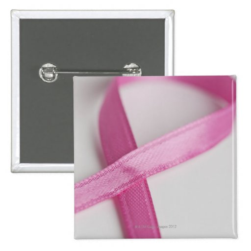Close up of Breast Cancer Awareness Ribbon Button