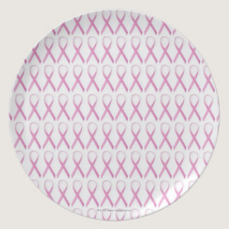 Close up of Breast Cancer Awareness Ribbons Dinner Plate