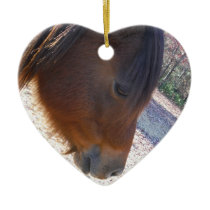 Close up of Brown horse, Little Brown Pony Ceramic Ornament