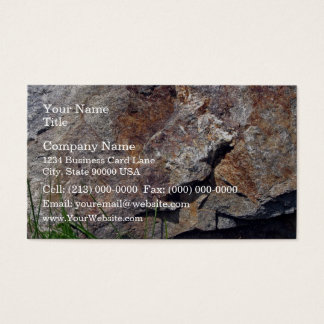 Close-up of Brown Rock on a grassy Landscape Business Card