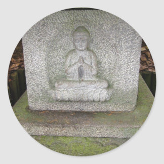 Close up of Buddha on a Relief Sculpture Round Stickers