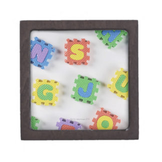Close-up of building blocks jewelry box