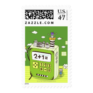 Close-up of buildings on a calculator postage