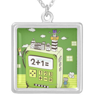 Close-up of buildings on a calculator square pendant necklace