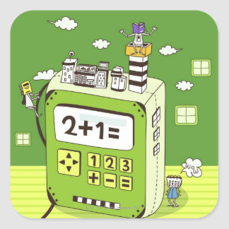 Close-up of buildings on a calculator square sticker