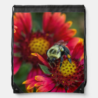 Close-up of bumblebee with pollen basket drawstring backpack
