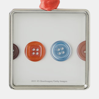 Close-up of buttons square metal christmas ornament