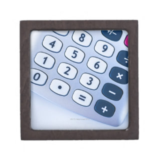 close-up of calculator buttons gift box