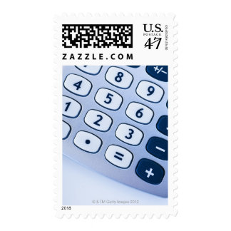 close-up of calculator buttons postage