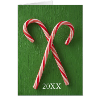 Close up of candy canes greeting card
