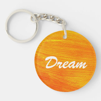 Close-up of canvas painting keychain
