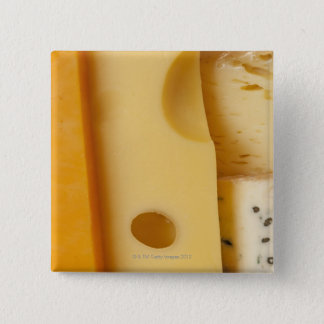 Close-up of cheese slices pinback button
