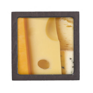 Close-up of cheese slices premium jewelry boxes