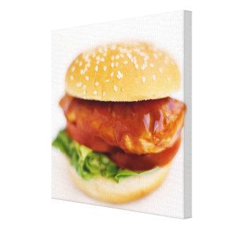 Close-up of chicken burger canvas print