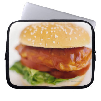 Close-up of chicken burger computer sleeves