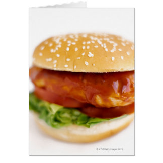 Close-up of chicken burger greeting card