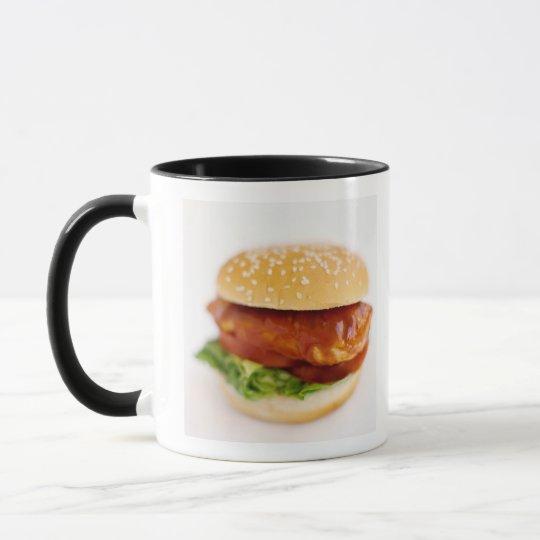 Close-up of chicken burger mug