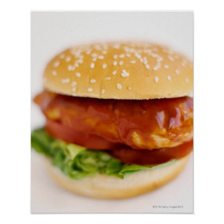 Close-up of chicken burger poster