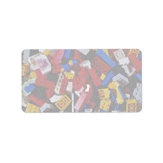 Close-up of children's building blocks label