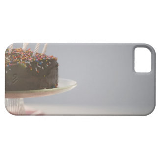 Close up of chocolate birthday cake with candles iPhone SE/5/5s case