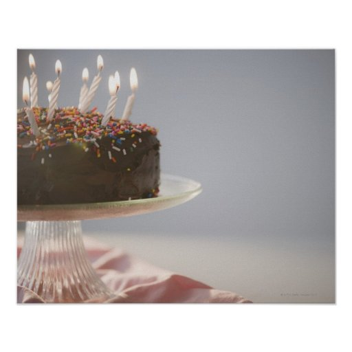 Birthday Cake Posters Art Prints : Close up of chocolate birthday cake with candles poster Zazzle