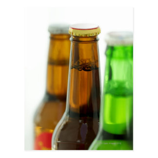 close-up of colored bottles of beer postcard
