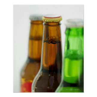close-up of colored bottles of beer poster